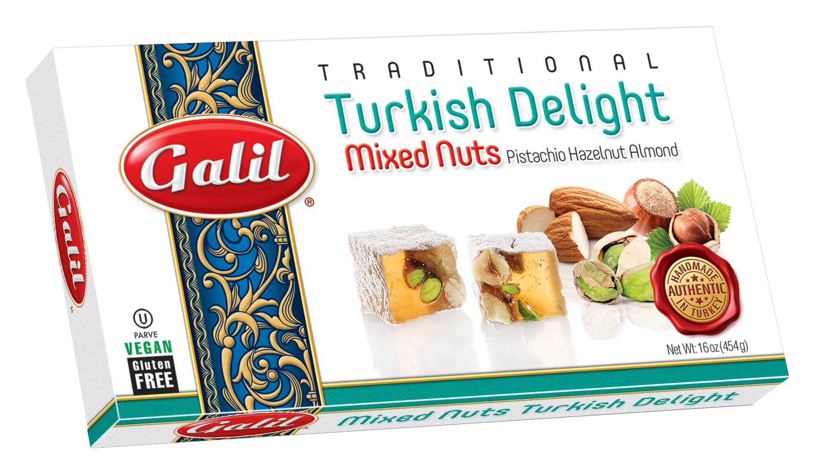 Galil Turkish Delight, Pistachio-Hazelnut-Almond, 16-Ounce Boxes (Pack of 4)