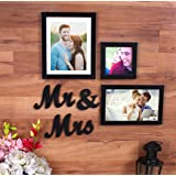 Art street Together Forever - Set of 3 Individual wall Photo Frames with Mr & Mrs MDF Plaque for couples, Black