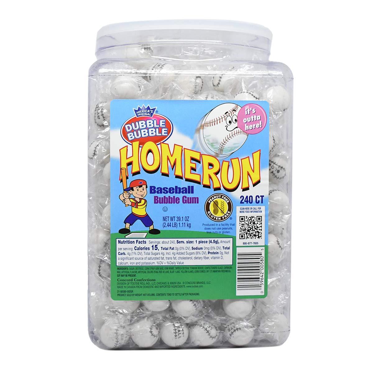 Dubble Bubble Home Run Baseball Bubble Gum Gumballs, 240-Count Jar
