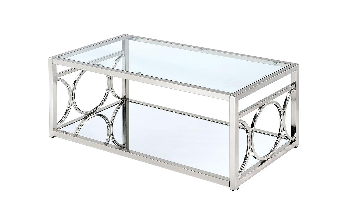 HOMES: Inside + Out ioHOMES Ortencia Chrome O-Ring Frame Coffee Table, Chrome