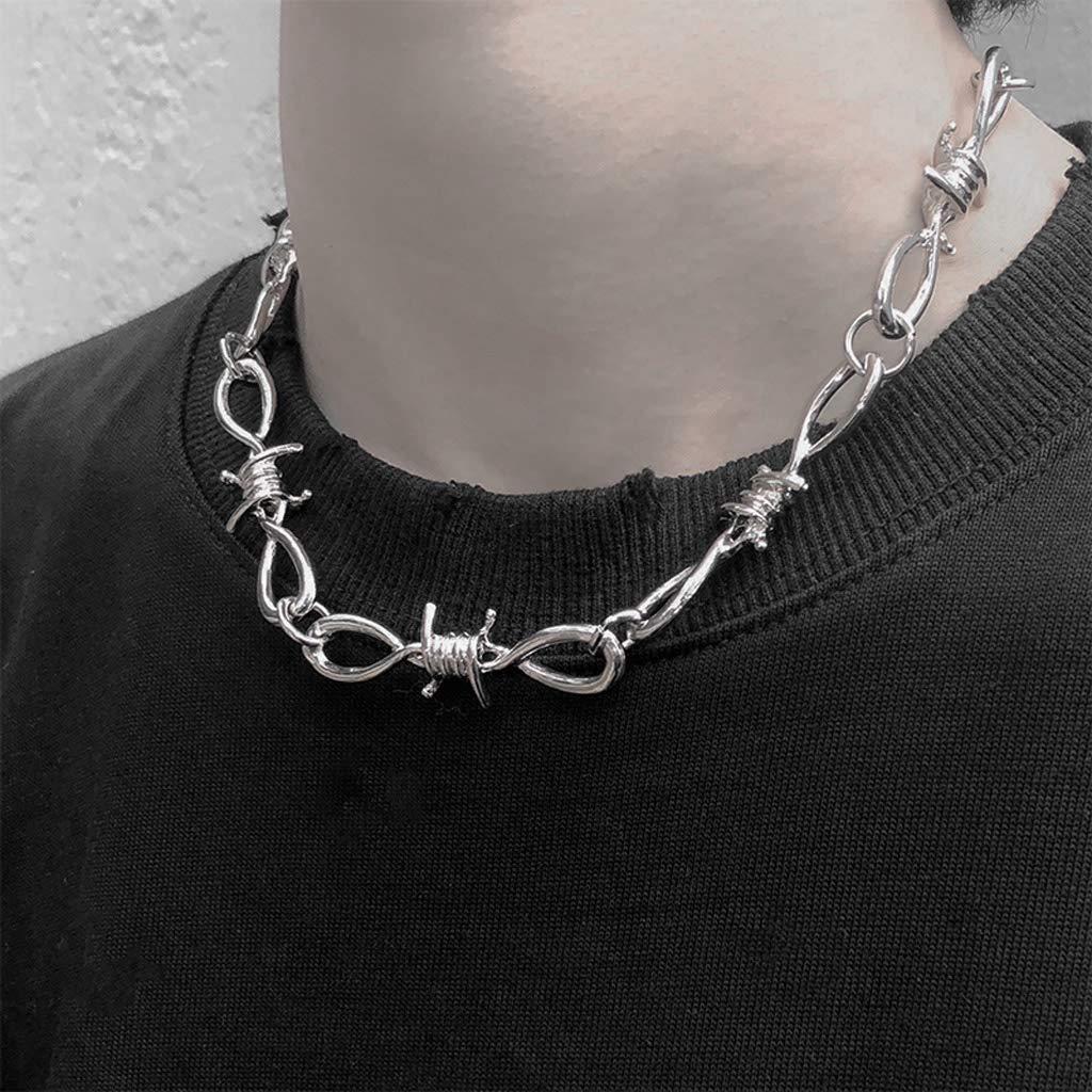 Xiuinserty Ensemble de bijoux comprenant un long collier et un bracelet en alliage style punk gothique