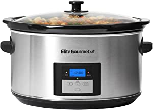 Elite Gourmet Digital Programmable Slow Cooker, Oval Adjustable Temp, Entrees, Sauces, Stews & Dips, Dishwasher Safe Glass Lid & Crock, 8.5 Quart, Stainless Steel,MST-900D