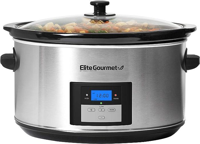Elite Gourmet Digital Programmable Slow Cooker, Oval Adjustable Temp, Entrees, Sauces, Stews & Dips, Dishwasher Safe Glass Lid & Crock, 8.5 Quart, Stainless Steel,MST-900D