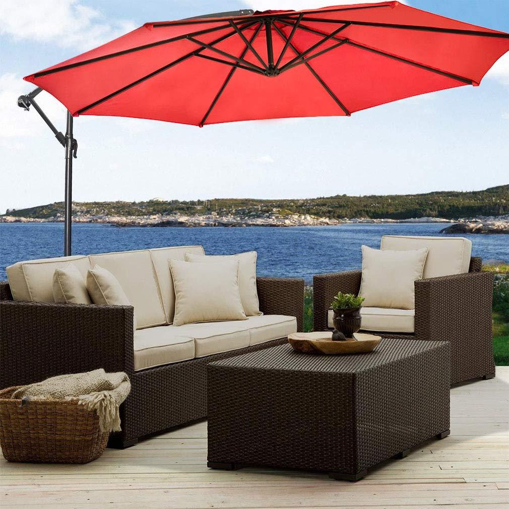 FDW Red Patio Umbrella Offset 10 Hanging Umbrella Outdoor Market Umbrella D10