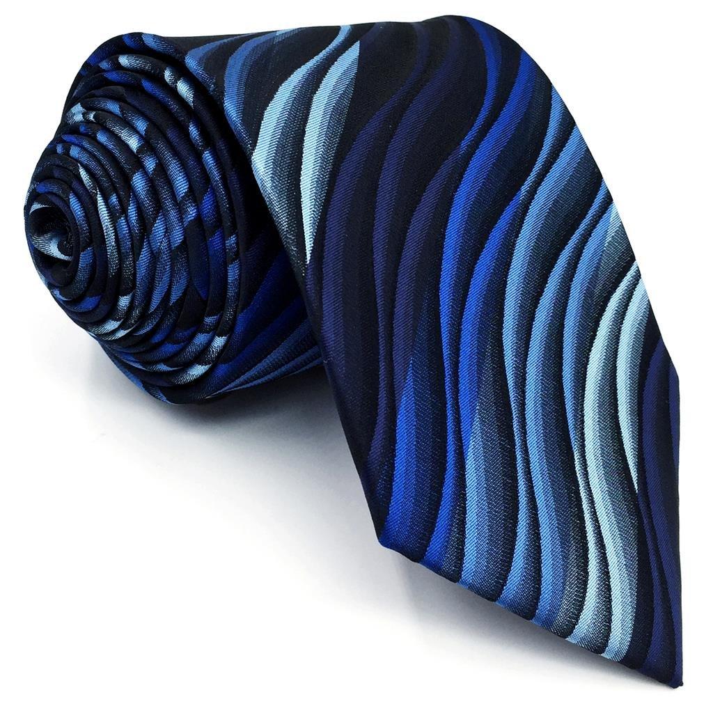 Shlax/&Wing Cl/ásico Hombre Traje De Negocios Seda Corbatas Para Azul Geom/étrico Extra largo