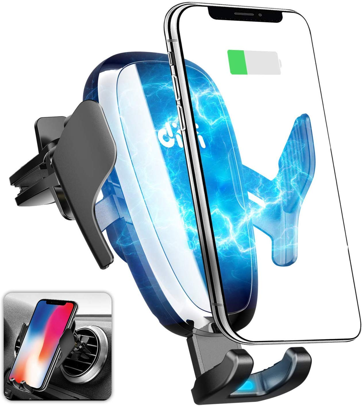 Air Vent Phone Holder Fast Car Cradles /& Mount 7.5W Compatible for iPhone Xs Max//Xs//XR//X// 8//8+ Wireless Car Charger 10W Compatible for Samsung Galaxy S9//S9+//S8//S8+//S10//S10+//Note 8//9