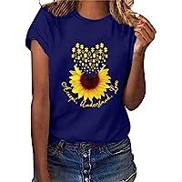Manygood Womens bemanning hals korte mouw Tee Shirts zonnebloem Print Workout Top Casual Tuniek Tops T-shirts Blouses