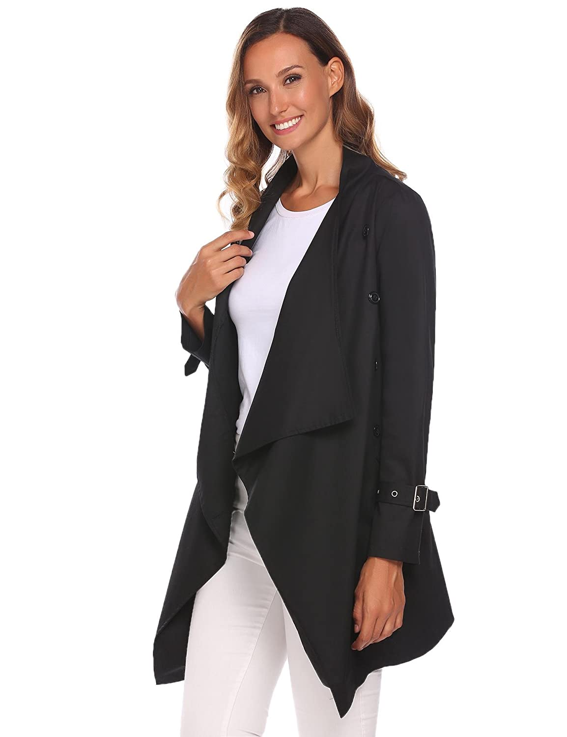 sholdnut Womens Lightweight Open Front Draped Trench Jacket Outwear with Belt