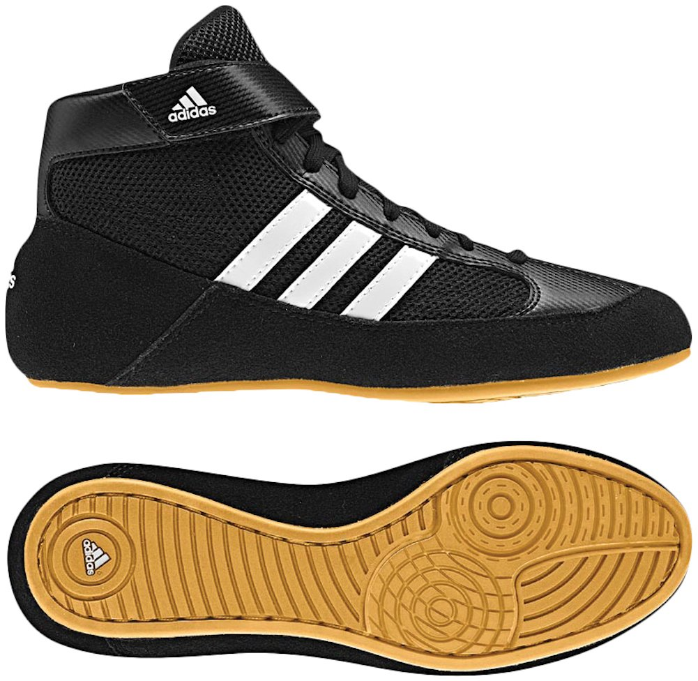 Adidas Youth Boy's Kids HVC2 Wrestling Mat Shoe Ankle Strap (Black/White, 1.5)