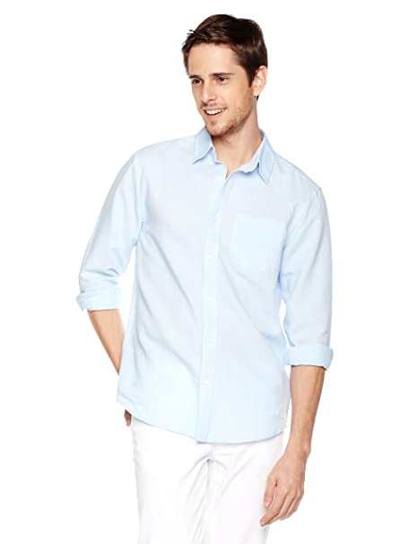 8a99a4a1 Amazon.com: Isle Bay Linens Men's Long Sleeve Standard Woven Linen Cotton  Shirt: Clothing