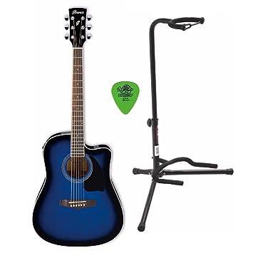 Ibanez PF15ECE Performance Dreadnought - Guitarra acústica eléctrica con soporte para guitarra y púas para guitarra: Amazon.es: Instrumentos musicales