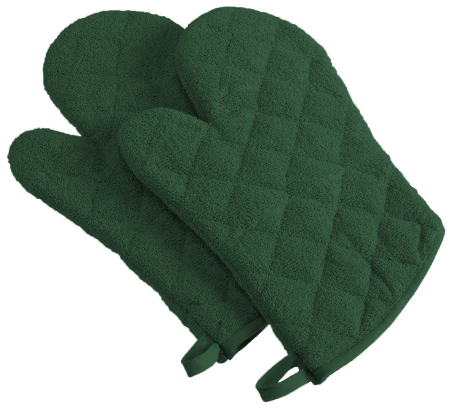 DII 100% Cotton, Machine Washable, Everyday Kitchen Basic Terry Ovenmitt Set of 2, Dark Green