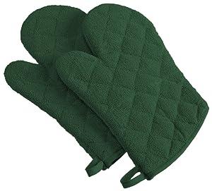 DII 100% Cotton, Machine Washable, Everyday Kitchen Basic Terry Ovenmitt Set of 2, Dark Green