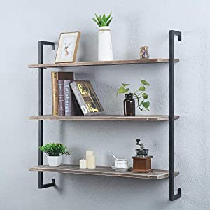 Rustic Metal and Wood Wall Shelf Unit,Industrial Shelving Wall Mounted 3 Tier,Floating Book Shelves for Office Bedroom Farmhouse,36in Real Wood and Iron Shelves Hanging Bookshelf