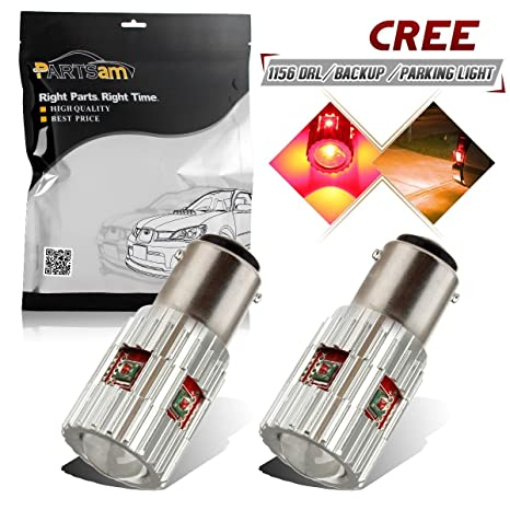 2-Pack Amber/Yellow Cree Error Free 1156 BA15S 1156NA LED Bulbs Replacement  With Projector For Turn Signal Lamps Tail BackUp Parking Bulb 7506 1141