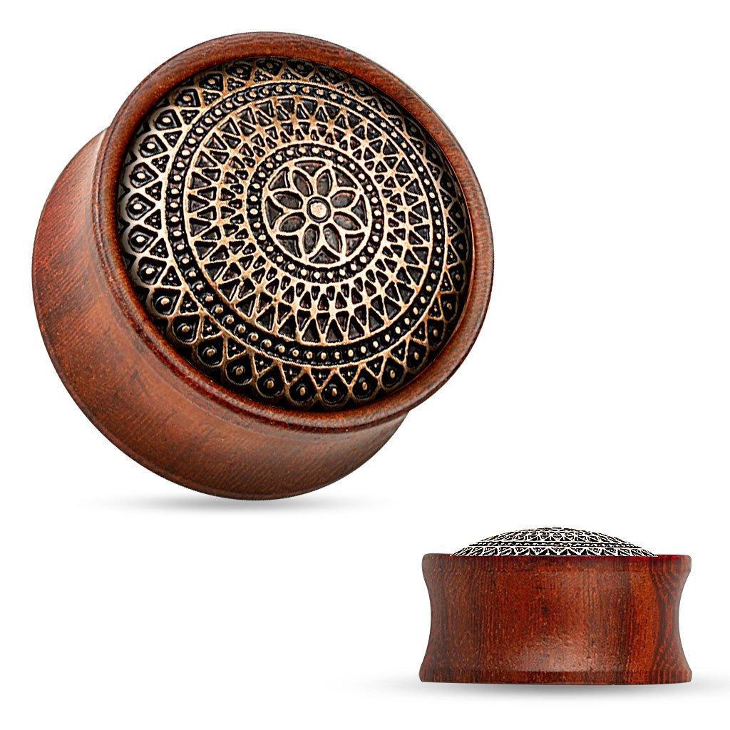 PAIR Lattice w/Flower Pattern Rose Wood Organic Saddle Plugs Body Jewelry (7/8'' (22mm))
