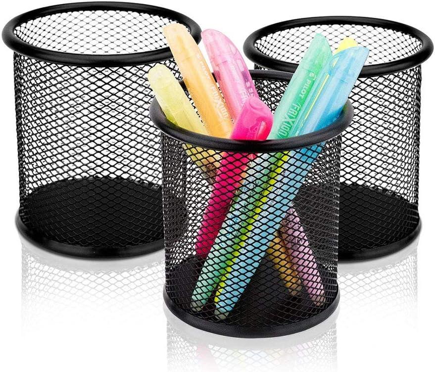 Mallalah 3pcs M/étal Fil Crayon Tasse Pot Rond Stylo Support Desk Tidy Bo/îte de Rangement Stockage /à Mailles Maison Bureau Noir 9,5cmx9cm
