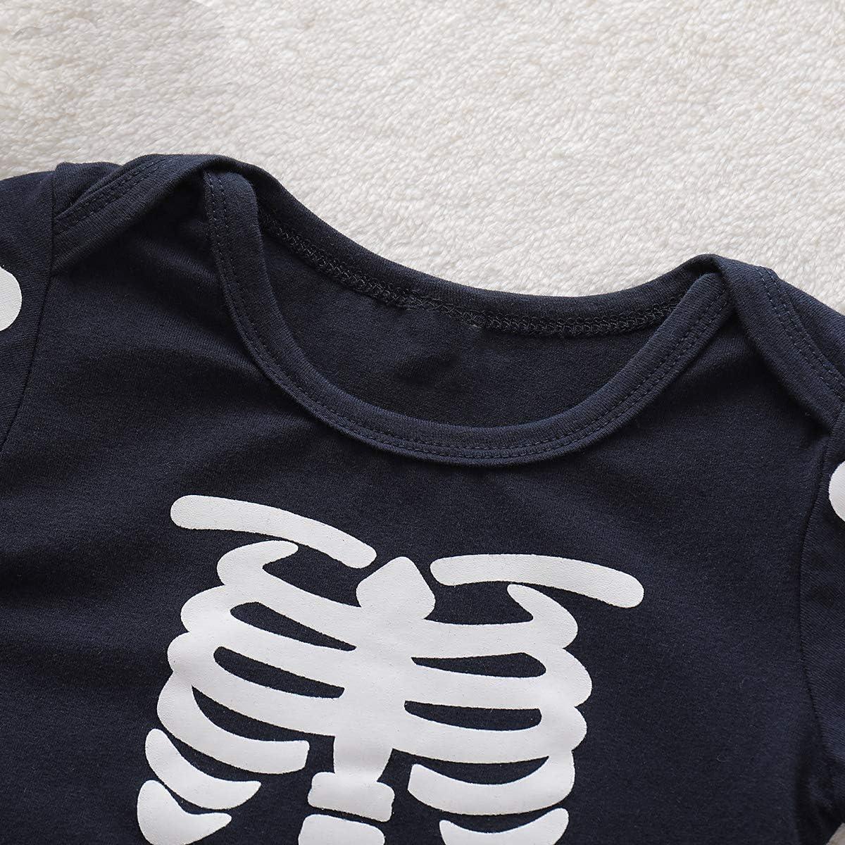 Haokaini Completi per Halloween Baby Girls Skull Skeleton Pagliaccetto Gonna Scaldamuscoli per Bambino