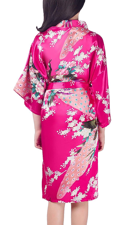 YAOMEI Bambini Ragazza Ragazzo Kimono Vestaglia Pigiama Raso di Seta del Pavone e Fiori Robe Accappatoio per Matrimoni Nuziali
