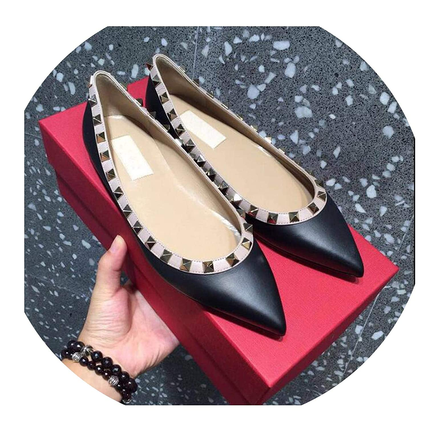 With logo FAT BABY Women's shoes Rhinestone Pointed Flat shoes Women's Rivet Pointed-Toe shoes Crystal Wedding shoes