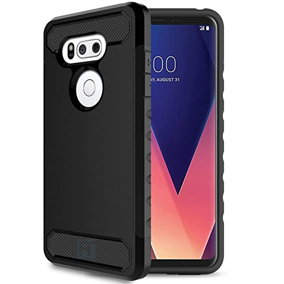 uk availability b7b28 47506 LG V30 / LG V30+ / LG V30 Plus Case, ATUS Protective Slim Fit Carbon Fiber  Accent Case (Black/Black)