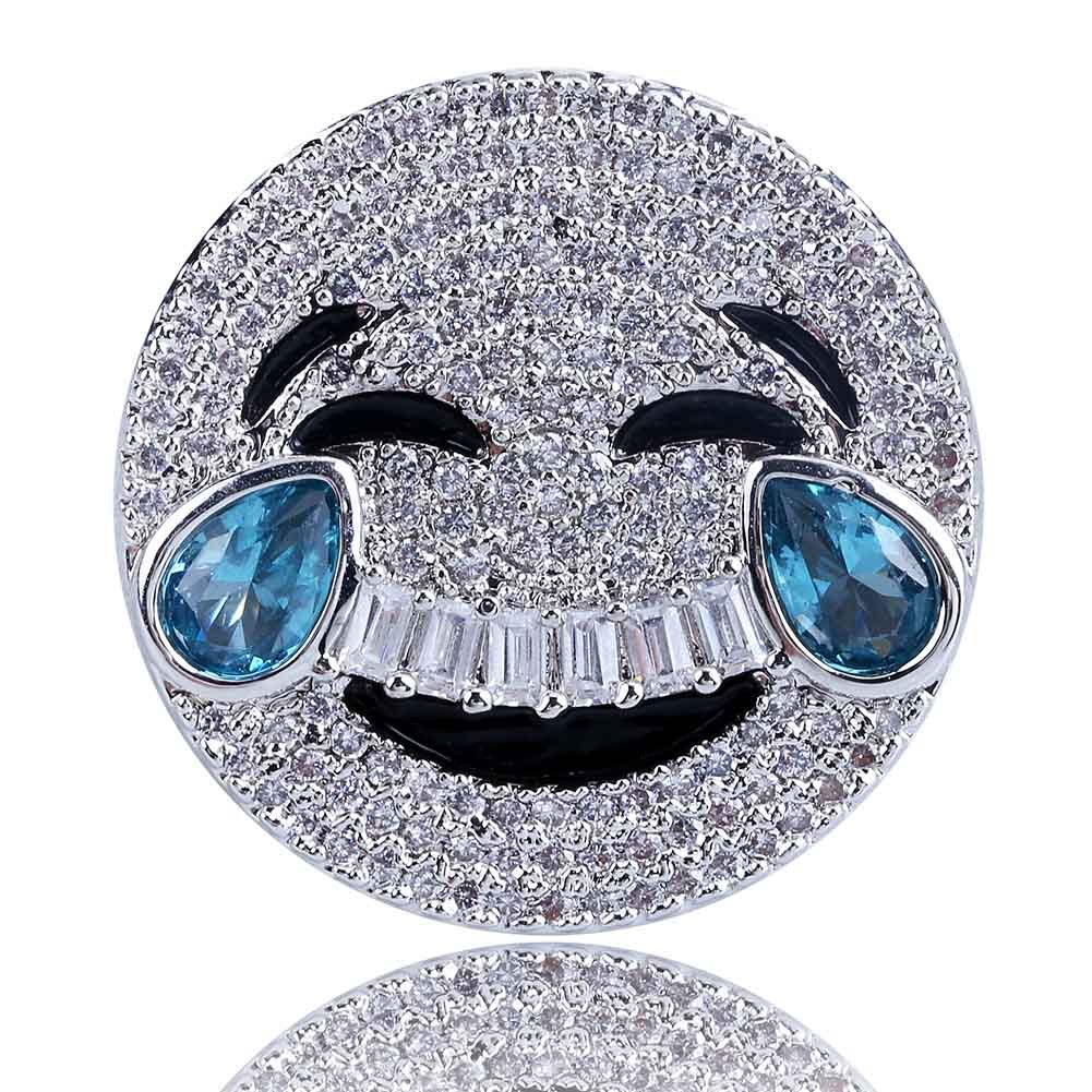 SHINY.U 14K Gold Plated Iced out CZ Simulated Diamond Sapphire Crying and Face with Tears of Joy Emoji Ring for Men Fashion Jewelry Gifts (Silver face with tears of joy, 10)