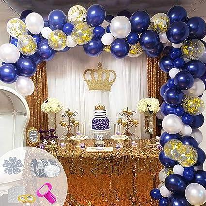 Globos Azul Marino Decoraciones para Fiestas Kit de Arco y Guirnaldas Globos de Confeti Confeti dorado y Globos Met/álicos Dorados para Cumplea/ños Baby Shower Decoraci/ón de Fiesta de Bodas