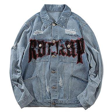 Hip Hop Street Retro Print Rock Hole Denim Jacket