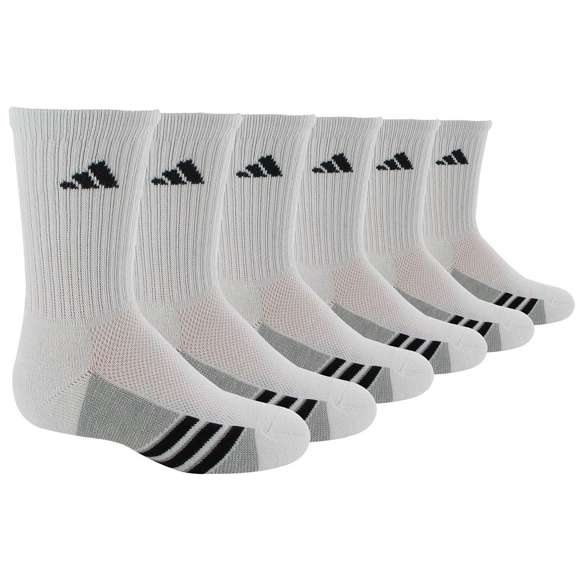 adidas Boys' Graphic 6-Pack Crew (Toddler/Little Big Kid/Adult), White/Black/Aluminum 2, Medium (Shoe Size 13C-4Y)