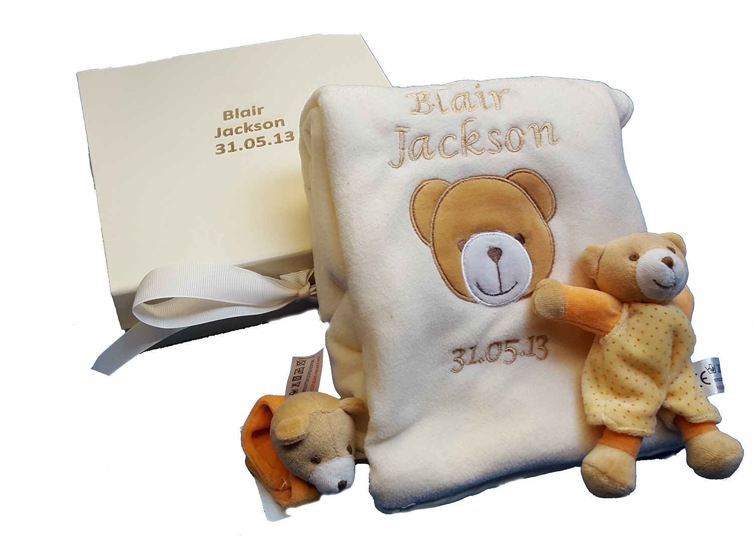 Personalised Embroidered Appliquéd Baby Blanket with name Newborn Gift Set with teddy + wrist rattle in keepsake box Hoolaroo