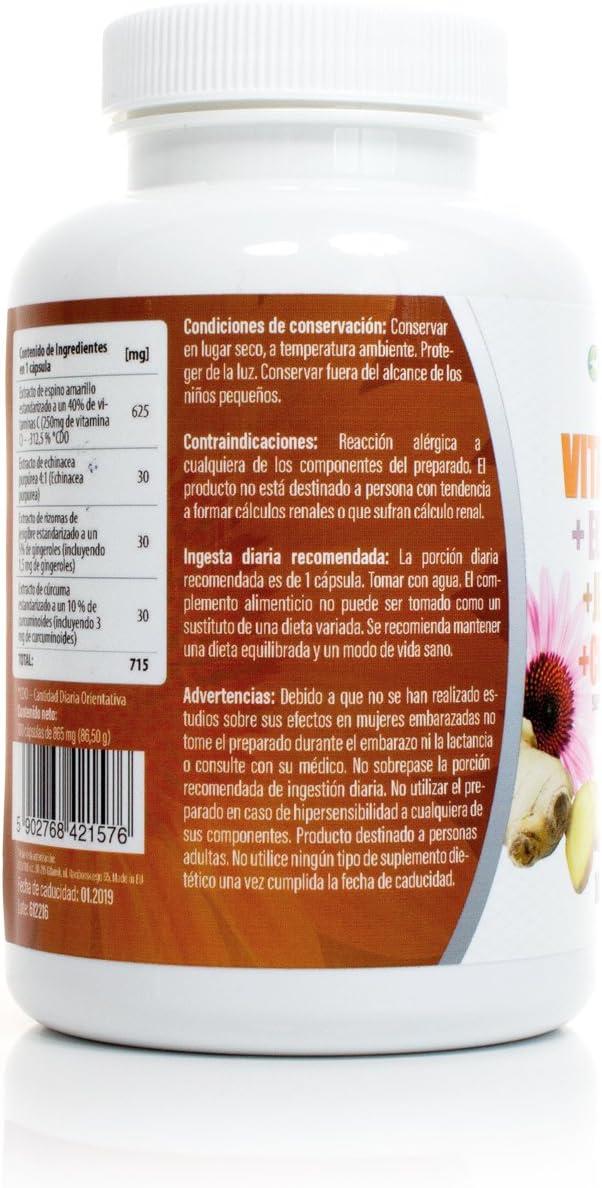 Vitamina C + Echinacea+Jengibre+Curcuma 100 Capsulas: Amazon.es ...