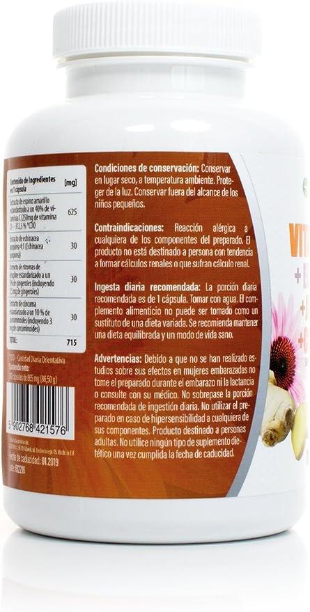 Vitamina C + Echinacea+Jengibre+Curcuma 100 Capsulas