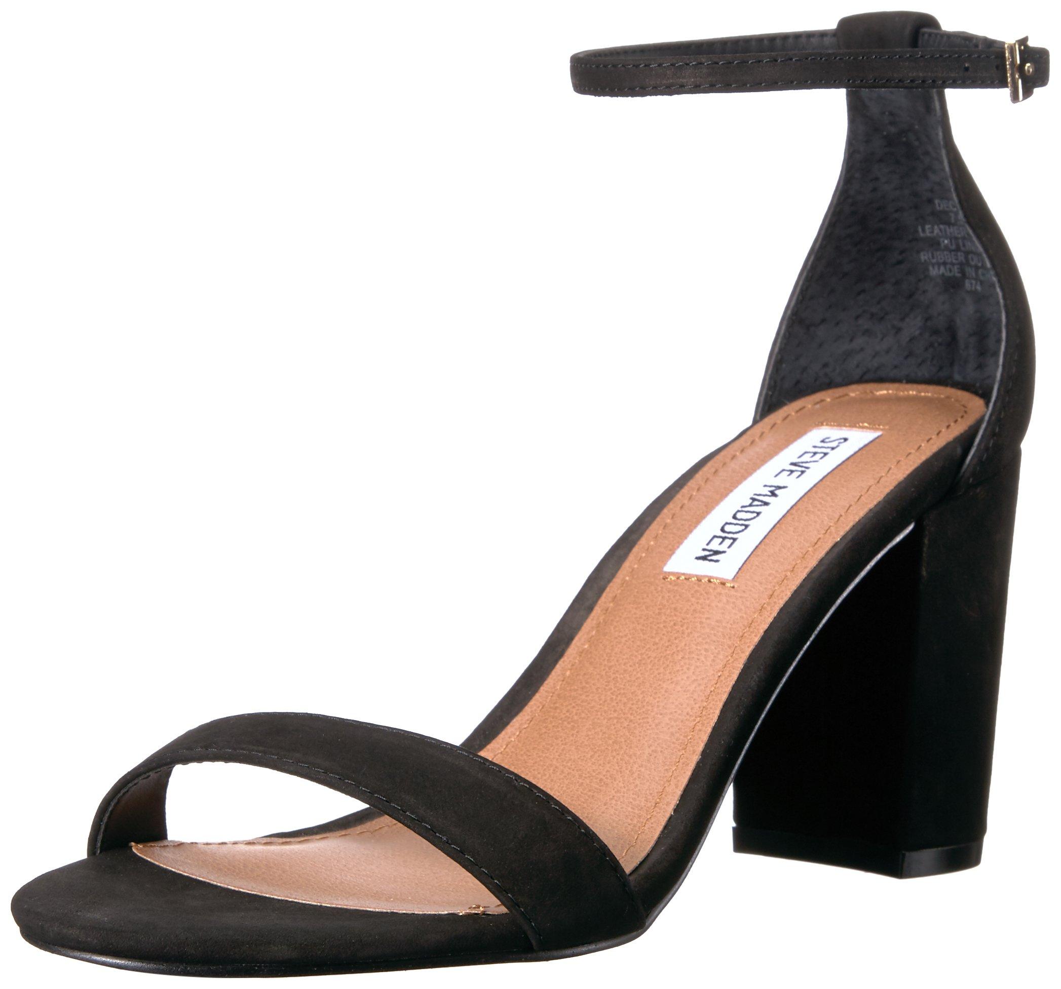 Steve Madden Women's Declair Dress Sandal, Black Nubuck, 8 M US