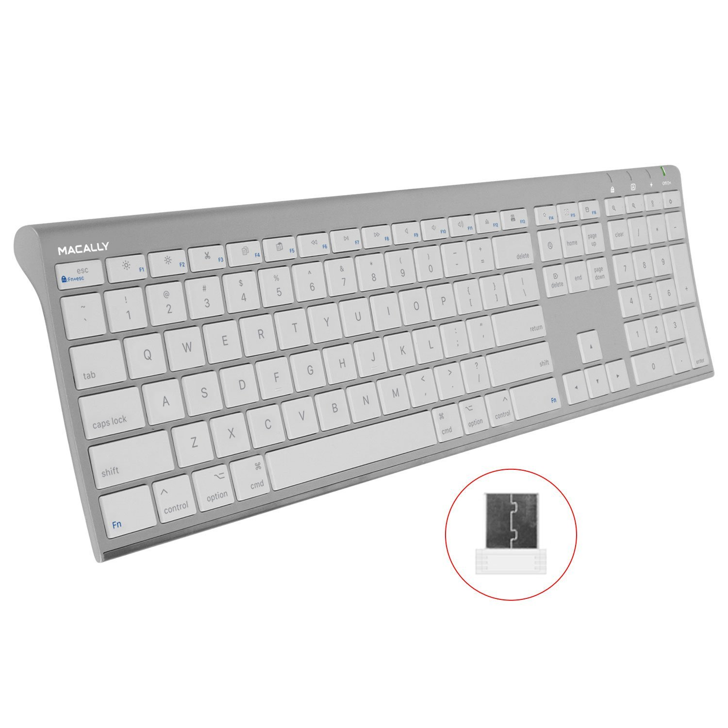Macally RF Wireless Computer Keyboard (Full-Size) with Compact 2.4GHz Dongle USB Receiver for Apple MacBook Pro, Air Laptops or iMac, Mac Mini Desktops | Plug and Play (Ultra-Slim) by Macally