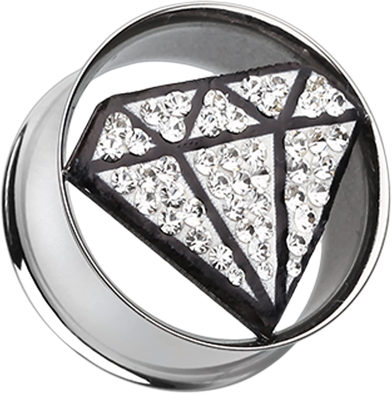Clear Urban Diamond Shaped Sparkling Tunnel Ear Plug Sold as a Pair