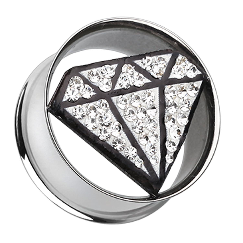 Urban Diamond Shaped Sparkling Tunnel Ear Gauge Plug 8mm - Clear Sold as a Pair 0 GA