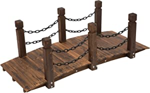 Outsunny 5ft Wooden Garden Bridge Arc Stained Finish Walkway with Chain Railings, Stained Wood