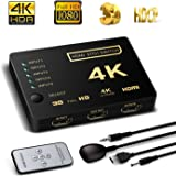 HDMI Switch Support HDCP 1080p Mini 5 in 1 out HDMI Switcher 4K Intelligent 5 Port 4K HDMI Auto Switcher Box Audio/video Switcher Adapter Compatible with 4K Ultra HD Resolution for Mac PCs XBOX TVs