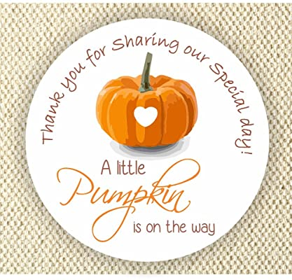 Baby Shower Stickers - A Little Pumpkin is on the way Stickers - Thank you for Celebrating with me