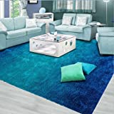 Rug Large Carpet mat rectangular Girl Bedroom Non-slip Creative Sofa Coffee Table Carpet Modern Door Mats Living Room Hall ( Color : Blue , Size : 600*900mm )