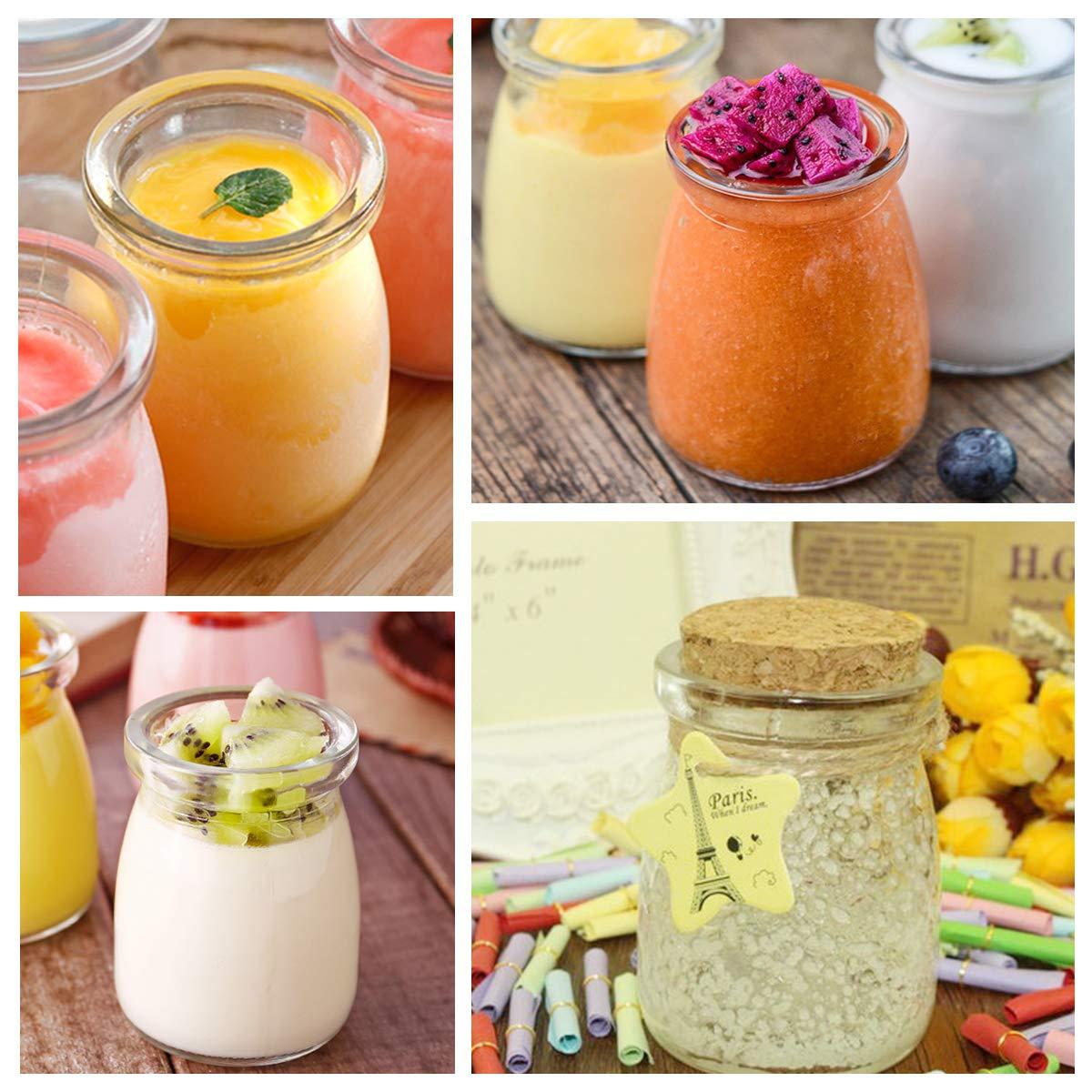 Glass Jars, KAMOTA 40 PACK 4oz Clear Yogurt Jars With PE Lids, Glass Pudding Jars Yogurt Jars Ideal for Jam, Honey, Wedding Favors, Shower Favors, Baby Foods (150ml) by KAMOTA (Image #6)