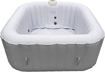 ALEKO HTISQ4WHGY Square Inflatable Jetted Hot Tub Spa with Cover - 4 Person - 160 Gallon - Gray