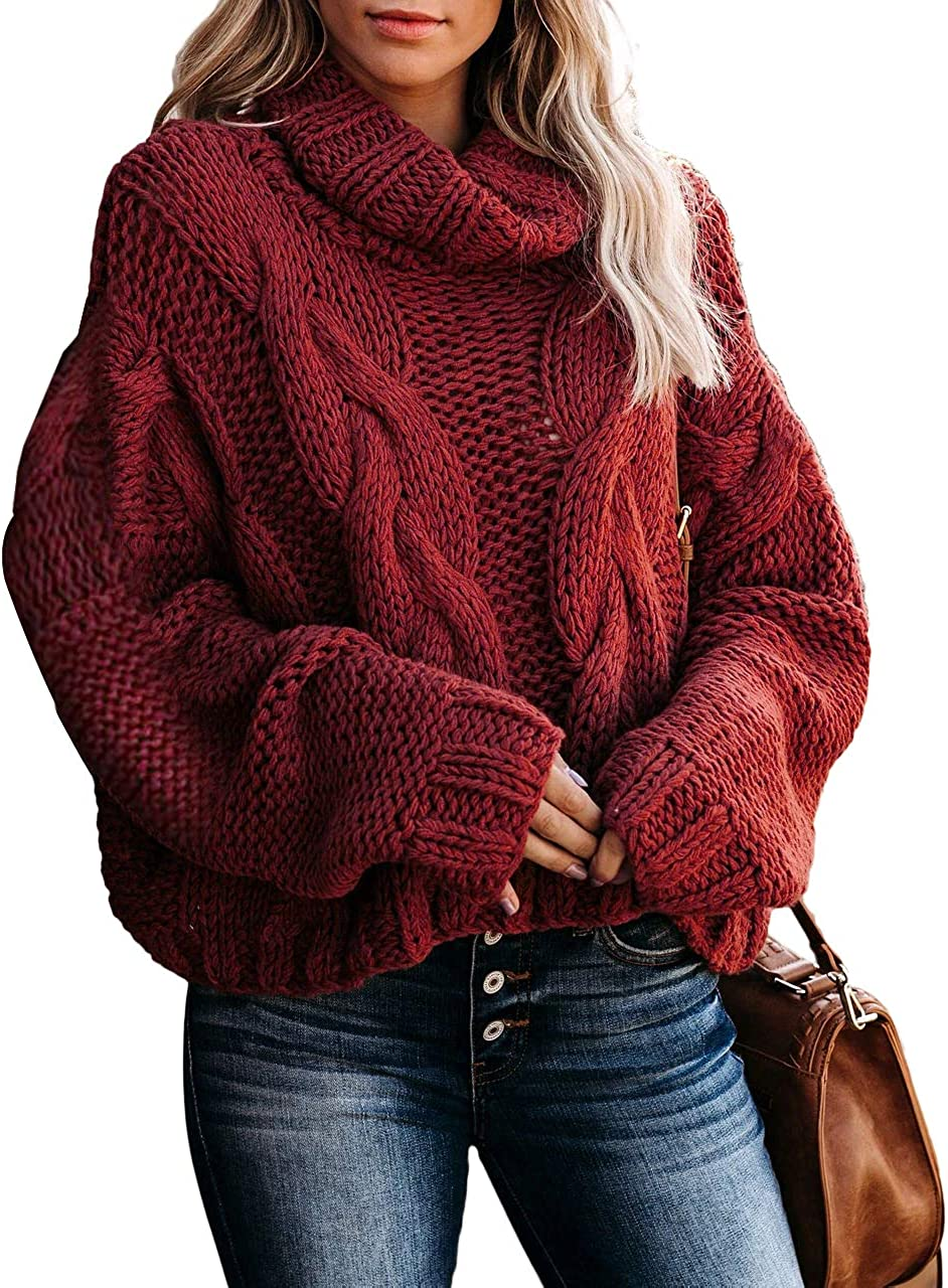 MLEBR Womens Chunky Turtleneck Balloon Long Sleeve Oversized Pullover Sweaters Outerwear (S-XXL)