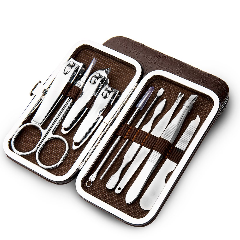 10 PCS Manicure Pedicure Set Nail Clippers - Stainless Steel Manicure Kit - Tools for Nail, Cutter Kits -Perfect Gift for Women, Men Includes With Portable Travel Case xjzx