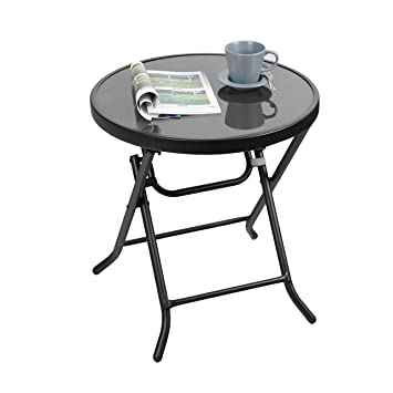 Captiva Designs 18u0026quot; Patio Quick Fold Side Table Small Glass Folding  Table Outdoor Backyard Bistro