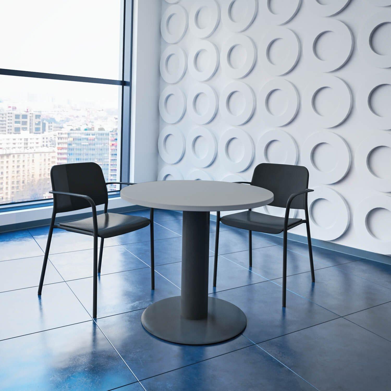 WeberBÜRO Optima runder Besprechungstisch Ø 80 cm Lichtgrau Anthrazites Gestell Tisch Esstisch