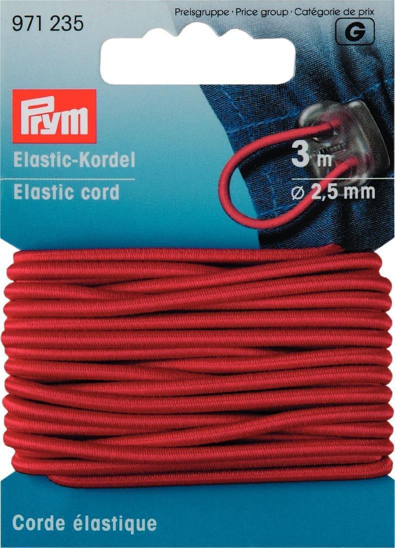 Cordoncino elastico, Gold Zack, 2,5mm, L.: 3m, rosso Prym