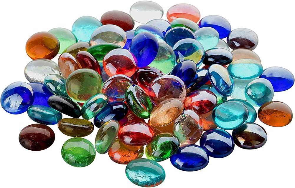 INTVN Cuentas de Vidrio y Guijarros 300g Piedras de Vidrio Perlas Paquete de Piedras de Vidrio Decorativo Arena 20 * 20 * 7mm