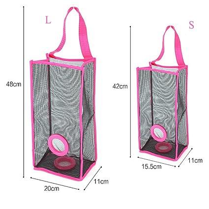 freeas bolsas de plástico de montaje en pared soporte para colgar bolsa de la compra recipiente dispensador de malla de ahorro de bolsa de la compra bolsa ...