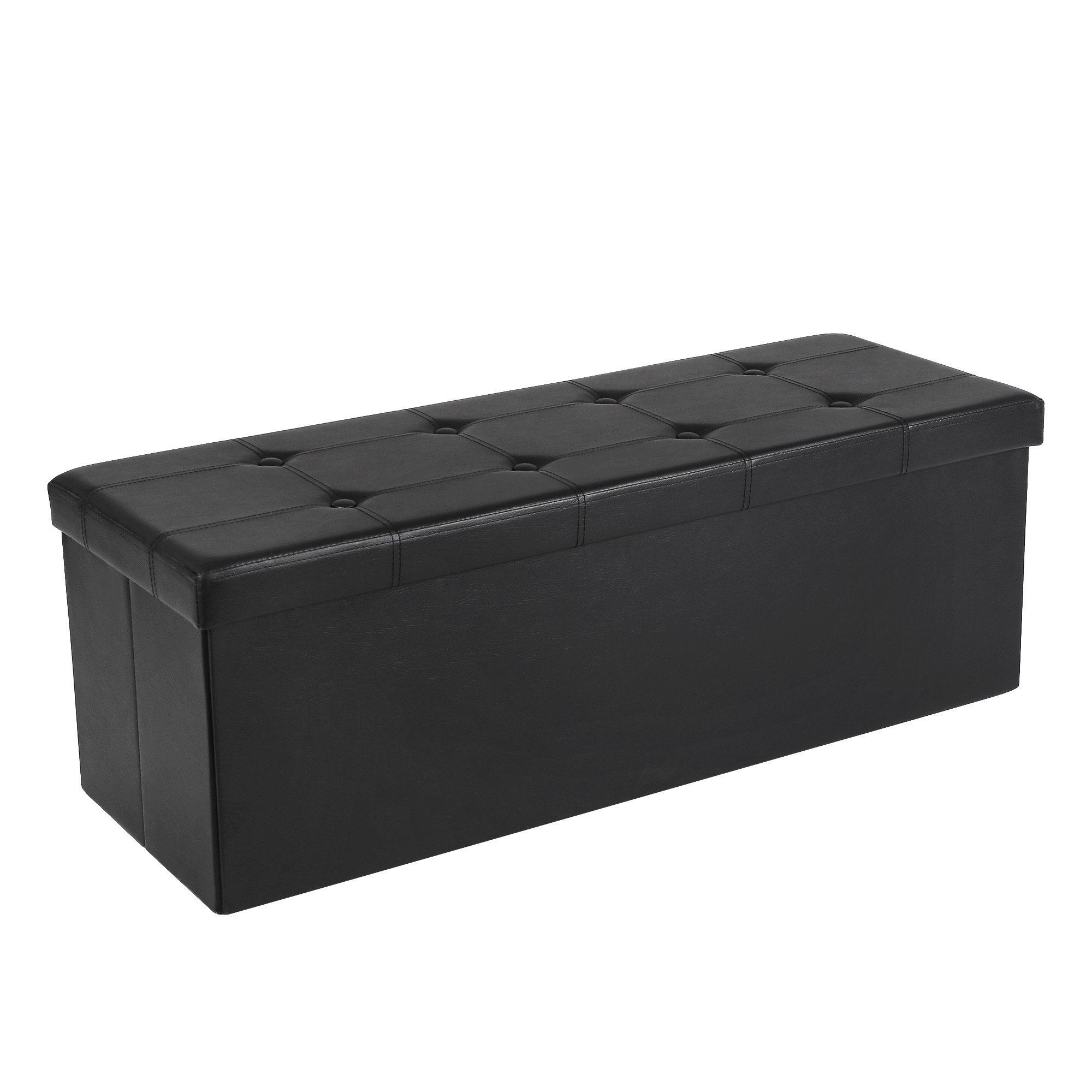 SONGMICS 43 Inches Folding Storage Ottoman Bench, Storage Chest Footrest Padded Seat, Faux Leather, Black ULSF701 by SONGMICS